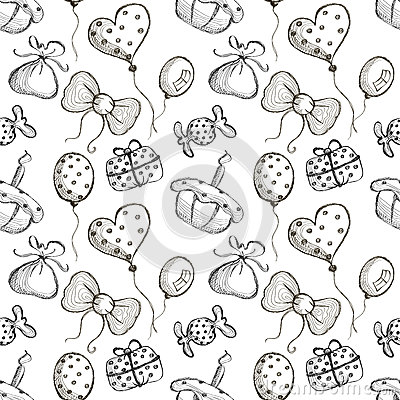 Free Seamless Vector Pattern With Hand Drawn Air Balloons, Bows, Gifts, Cake, Candy On The White Background. Royalty Free Stock Photo - 71693615
