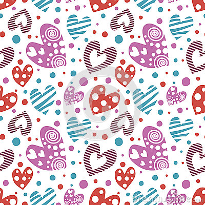 Free Seamless Vector Pattern With Hearts. Background With Different Colorful Hand Drawn Ornamental  Royalty Free Stock Photos - 71694368