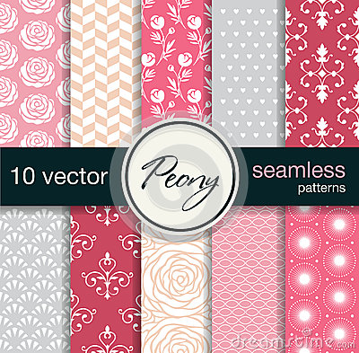 10 seamless vector patterns. Floral theme. Vector Illustration