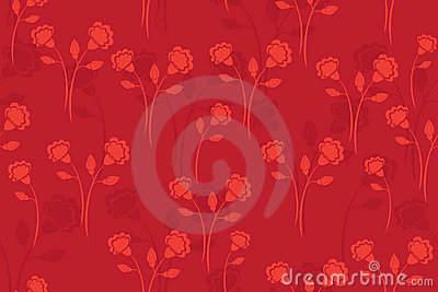 Seamless vector red pattern with flowers