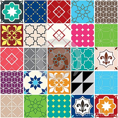 Free Seamless Vector Tile Pattern, Azulejos Tiles, Portuguese Geometric And Floral Design - Colorful Patchwork Stock Photography - 108503522