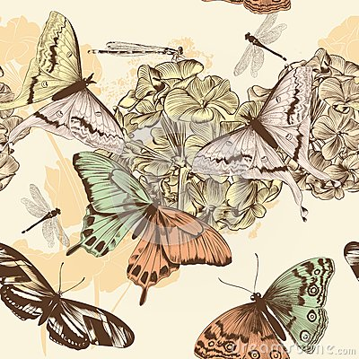 Free Seamless Vector Wallpaper Pattern With Butterflies In Vintage St Royalty Free Stock Photo - 42260575