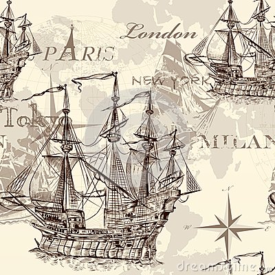 Free Seamless Vector Wallpaper With Ship In Vintage Style Stock Image - 34517291
