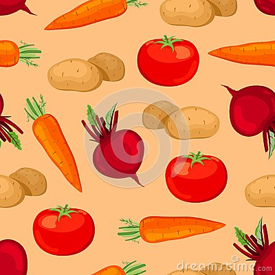 Seamless vegetables pattern.