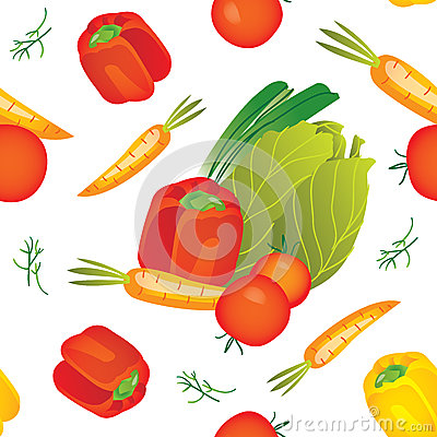 Seamless  vegetables pattern illustration