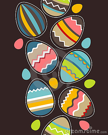 Seamless vertical easter pattern with eggs