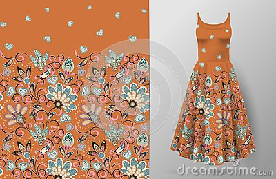 Seamless vertical fantasy flowers pattern. Hand draw floral background on dress mockup. Vector. Traditional eastern Vector Illustration