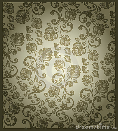Seamless victorian rose pattern