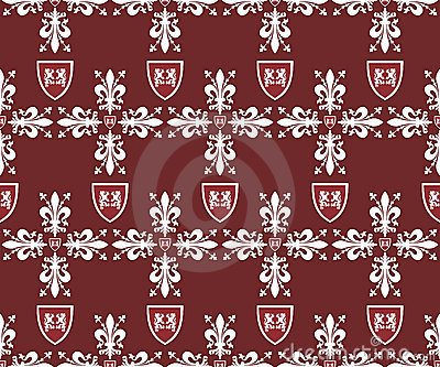 Seamless victorian royal texture with fleur-de-lis