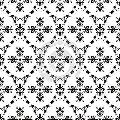 Seamless victorian royal texture with fleur-de-lis