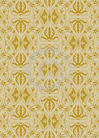 Vintage golden damask pattern