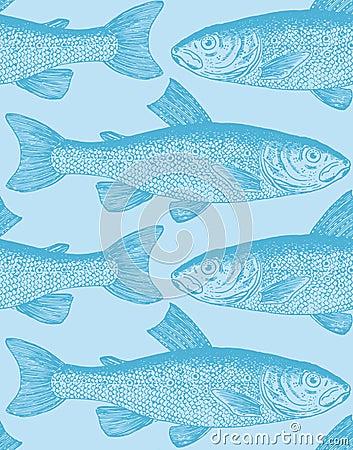 Free Seamless Vintage Fish Pattern (vector) Stock Photos - 14279563