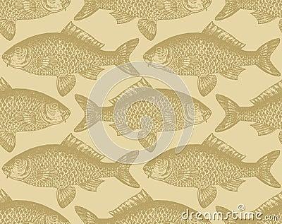 Seamless vintage fish pattern (vector)