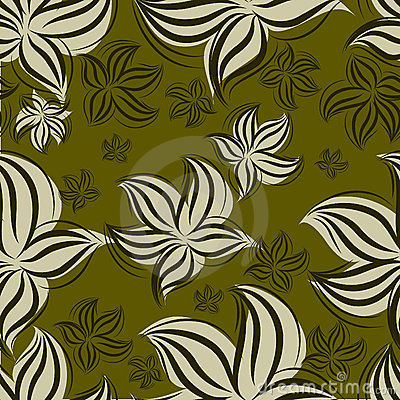 Seamless vintage floral pattern with lillies