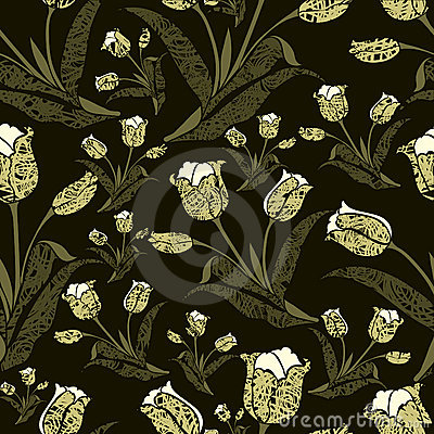 Seamless vintage floral pattern with tulips