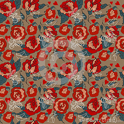 Seamless Vintage Floral pattern for Valentine design