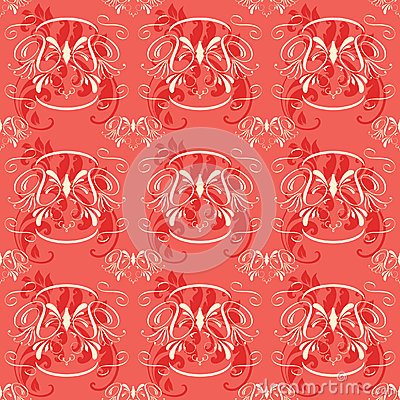 Seamless Vintage Floral Red