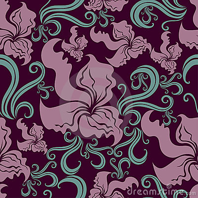 Seamless vintage grunge floral pattern with orchid