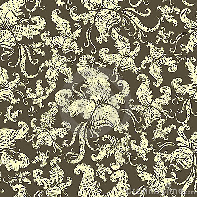 Free Seamless Vintage Grunge Floral Pattern With Orchid Royalty Free Stock Photo - 13835075
