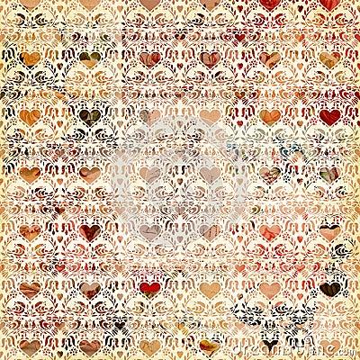 Seamless vintage heart pattern background design