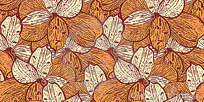 Seamless vintage pattern with alstremerias