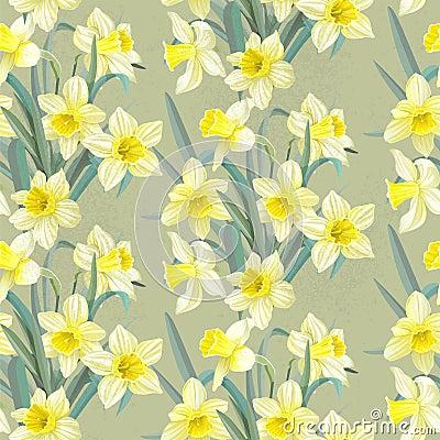 Free Seamless Vintage Pattern Lush Yellow Daffodils Royalty Free Stock Image - 33706396