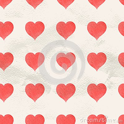 Free Seamless Vintage Pattern Of Red Hand Drawn Watercolor Hearts Stock Photography - 49565672