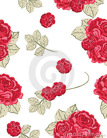 Free Seamless Vintage Pattern With Red Roses Stock Photo - 11274490