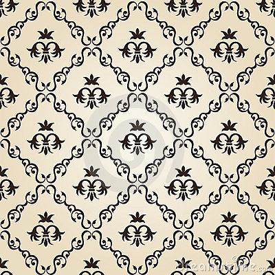 Seamless vintage wallpaper background floral beige