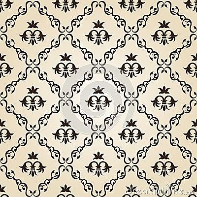 Free Seamless Vintage Wallpaper Background Floral Beige Stock Photos - 19071143