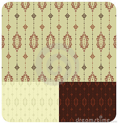 Seamless Vintage Wallpaper set of 3