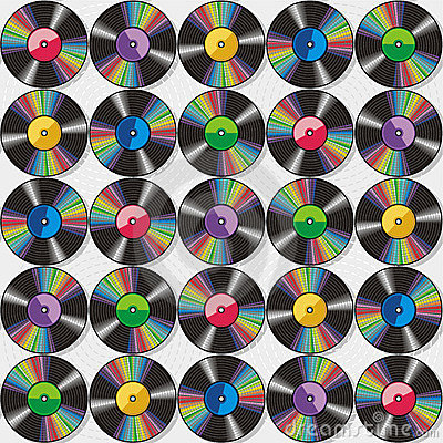 Seamless vinyl records pattern or background