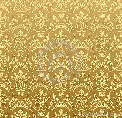 Seamless wallpaper background floral vintage gold