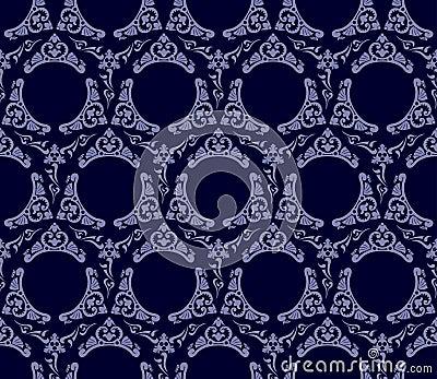 Seamless wallpaper background vintage blue black