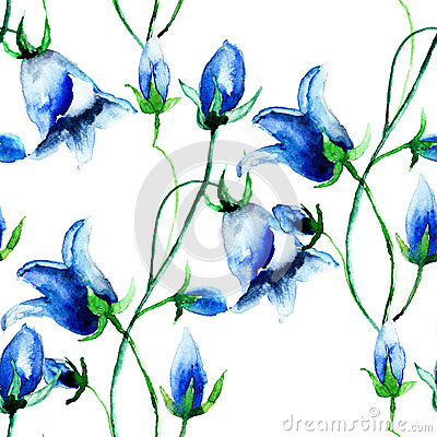 Seamless wallpaper with Bell flowers