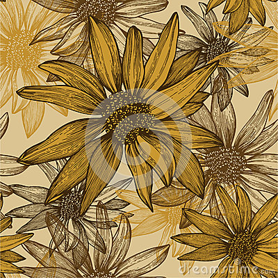 Seamless wallpaper with flowers, sunflower seeds,