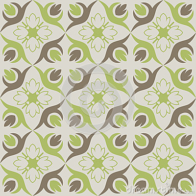 Seamless wallpaper with green brown floral pattern stock - Wallpaper brown and green ...
