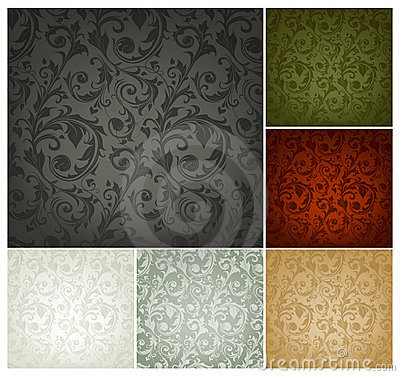 Free Seamless Wallpaper Pattern, Set Of Six Colors Stock Image - 20443701