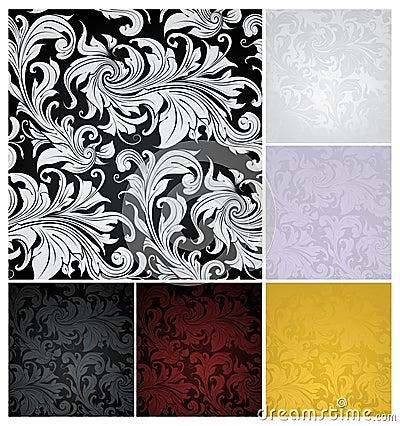 Free Seamless Wallpaper Pattern, Set Of Six Colors Stock Photos - 20443733