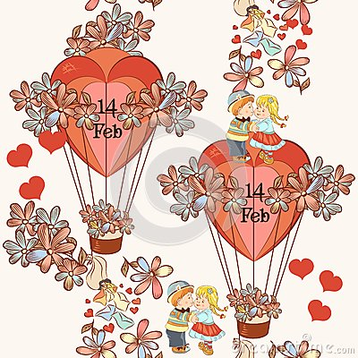 Free Seamless Wallpaper Pattern With Hearts And Air Balloons Stock Photo - 49325440