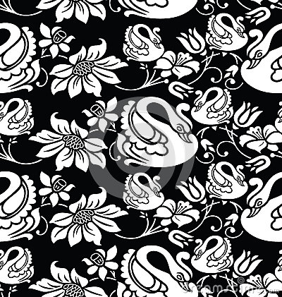 Seamless wallpaper with swan and flower image