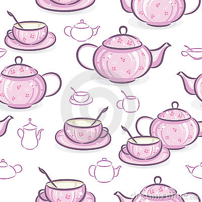 Seamless wallpaper - Teapot and cup
