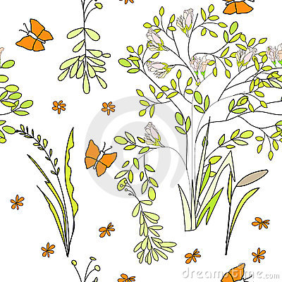 Seamless wallpaper wild flowers
