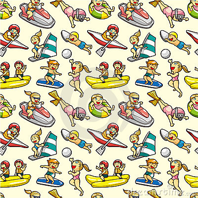 Seamless water sport pattern