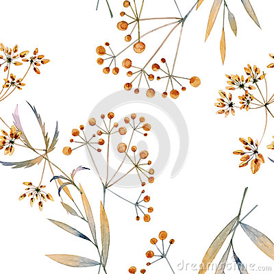 Free Seamless Watercolor Background Consisting Of Dried Flowers Stock Photos - 64422543
