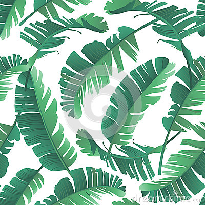 Seamless watercolor illustration of tropical leaves, jungle. Vector Illustration