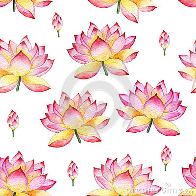 Free Seamless Watercolor Ornament With Lotus Flowers. Royalty Free Stock Image - 42663206