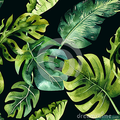 Free Seamless Watercolor Pattern Of Tropical Leaves, Dense Jungle. Ha Royalty Free Stock Photos - 91780338