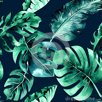 Free Seamless Watercolor Pattern Of Tropical Leaves, Dense Jungle. Ha Royalty Free Stock Image - 91780476