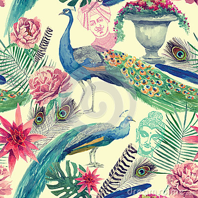 Free Seamless Watercolor Pattern With Peacocks. Hand Drawn Vector. Stock Images - 80071404